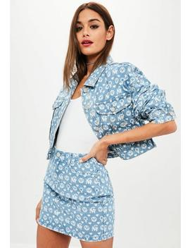 Premium Blue Printed Denim Jacket by Missguided