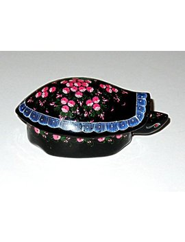 Vintage Turtle Trinket Box,Thailand Folk Art Jewelry Box,Lacquer Hand Painted,Vg Condition,Flowers,Pink,Black,Dark Green,White,Blue,Rose by Liz A Art
