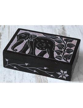 Jewelry Box, Black Stone Box, Elephant Decor, Indian Traditional Handmade, Natural Stone, Soapstone Box, Keepsake, Black Box by Dragon Gate