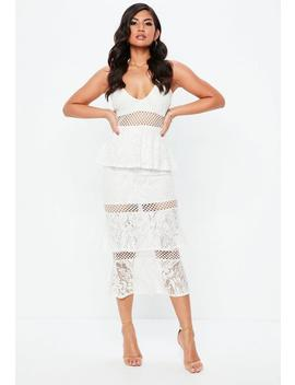 White Strappy Lace Layered Midi Dress by Missguided
