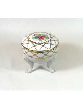 Floral Porcelain Tripod Trinket Jewelry Box Made In Japan Cottage Chic 1960's by Catnipalley