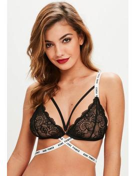 Black Babe Power Lace Triangle Bra by Missguided