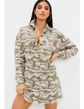 Nude Camo Shirt Dress by Missguided