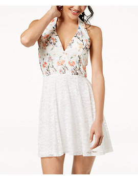 Juniors' Embroidered Lace Halter Dress by Crystal Doll
