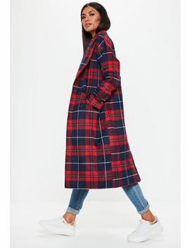 Red Checked Long Line Coat by Missguided