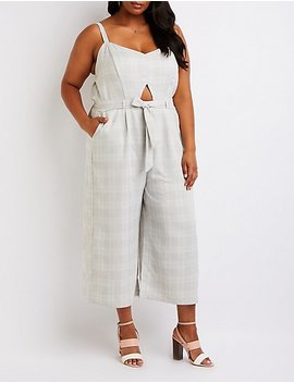 Plus Size Plaid Cut Out Jumpsuit by Charlotte Russe