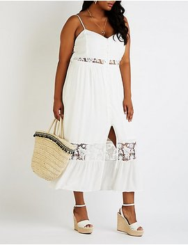 Plus Size Crochet Button Up Maxi Dress by Charlotte Russe