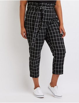 Windowpane Paperbag Trousers by Charlotte Russe