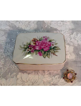 Small Porcelain Jewelry Box Irice I W Rice White With Pink Rose Floral Gold Trim Made In Japan Vanity Romantic Cottage Chic Home Decor by Marguerites Wood Shed