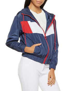 Hooded Color Block Windbreaker by Rainbow