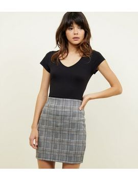 Black Check Tube Skirt by New Look