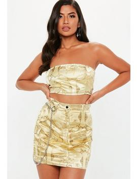 Gold Oriental Jacquard Bandeau Top by Missguided