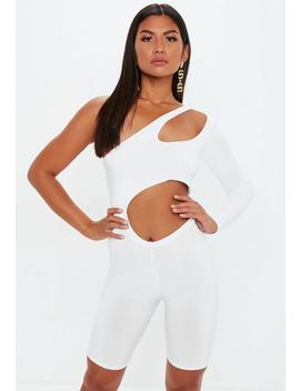 White Cut Out Slinky Unitard by Missguided