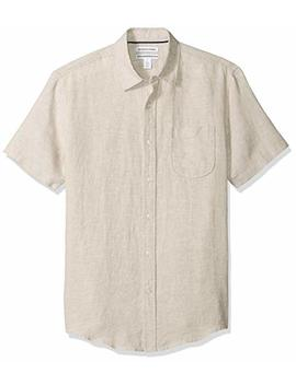 Amazon Essentials Men's Slim Fit Short Sleeve Linen Shirt by Amazon+Essentials