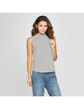 Women's Stripe Mock Neck Tank Top   Universal Thread™ Black by Shop All Universal Thread™