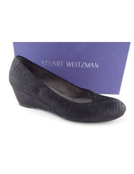 Stuart Weitzman Size 5 Sojourn Black Textured Wedge Heels Shoes by Stuart Weitzman