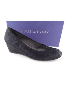Stuart Weitzman Size 5 Sojourn Black Textured Wedge Heels Shoes by Stuart Weitzman