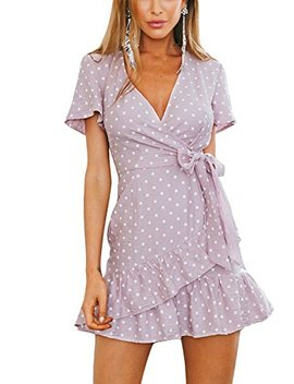 Swmmer Liket Sexy V Neck Bohemian Short Sleeve Ruffles 2018 Mini Women Summer Dress by Swmmer Liket