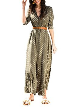 Asvivid Womens Casual Polka Dot Roll Up Sleeve Button Down Flowy Shirt Maxi Dress With Pockets by Asvivid