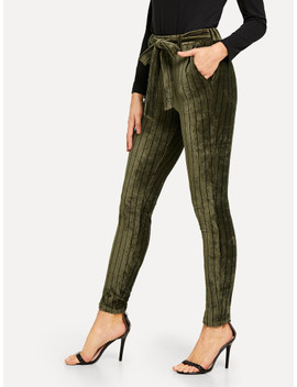 Belted Waist Striped Velvet Pants by Shein