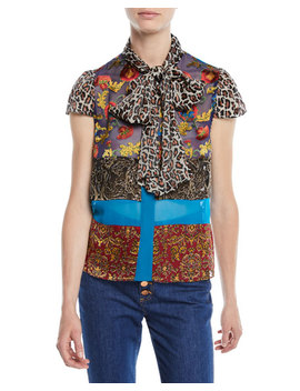 Jeannie Bow Collar Mixed Print Button Front Blouse by Alice + Olivia