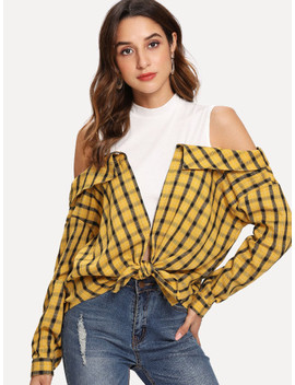 Knot Front Cold Shoulder Plaid Top by Shein