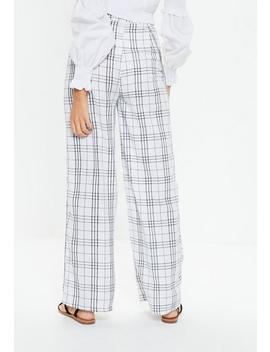 White Window Check Chain Wide Leg Pants by Missguided