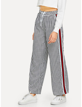 Drawstring Waist Houndstooth Print Pants by Sheinside