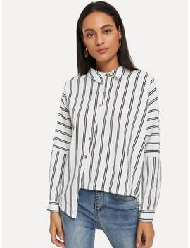 Drop Shoulder Asymmetrical Hem Stripe Shirt by Sheinside