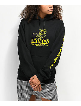 Broken Promises Evermore Black &Amp; Yellow Hoodie by Broken Promises