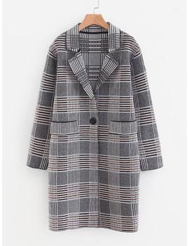 Wales Check Longline Coat by Sheinside
