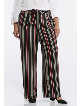 Plus Size Stripe Tie Front Palazzo Pants by Cato