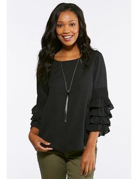 Plus Size Smocked Ruffle Sleeve Top by Cato