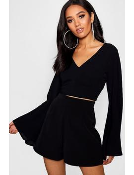 Petite V Neck Woven Flare Sleeve Crop by Boohoo