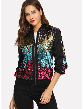 Zip Up Contrast Sequin Jacket by Shein
