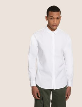 Covered Placket Stretch Regular Fit Shirt by Armani Exchange
