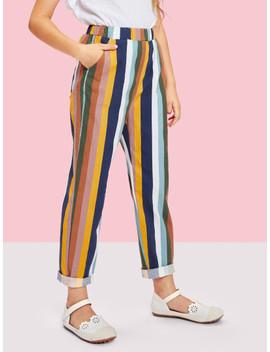 Girls Slant Pocket Striped Pants by Shein