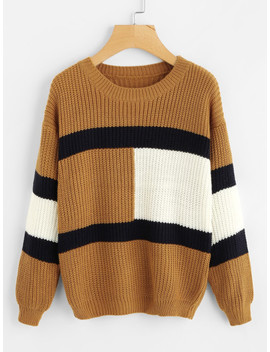 Drop Shoulder Color Block Knit Sweater by Sheinside