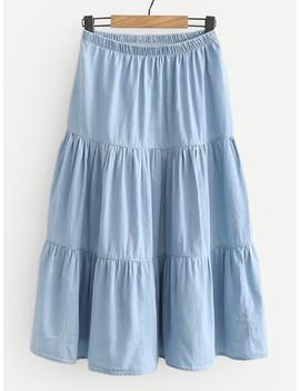 Tiered Seam Denim Skirt by Sheinside
