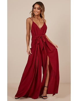 The Way I Am Jumpsuit In Wine by Showpo Fashion