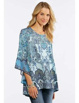 Plus Size Chiffon Bell Sleeve Top by Cato