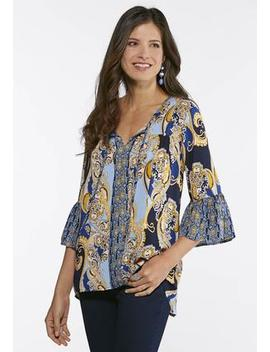 Plus Size Royal Paisley Poet Top by Cato
