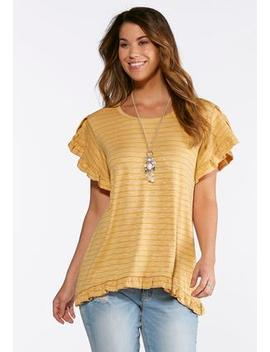 Plus Size Stripe Tulip Sleeve Top by Cato