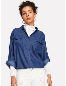 Snap Button Detail Asymmetric Hem Shirt by Sheinside