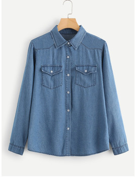 Solid Button Front Denim Top by Sheinside