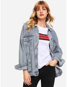 Pocket Front Button Denim Jacket by Sheinside