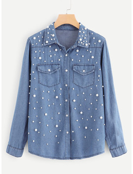 Beaded And Pocket Decoration Denim Top by Sheinside