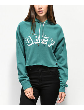 Obey Comfy Creatures Teal Crop Hoodie by Obey