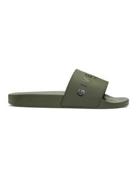 Khaki Logo Pool Slides by Givenchy