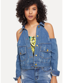 Open Shoulder Button Front Denim Top by Sheinside